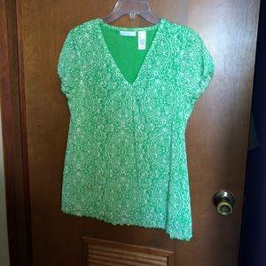 Large Green/ White Liz Claiborne Blouse